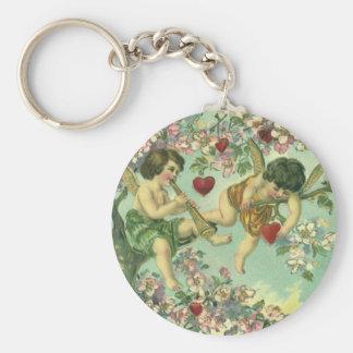 Vintage Victorian Valentines Day Cupids Heart Tree Keychain