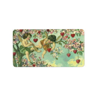 Vintage Victorian Valentines Day Cupids Heart Tree Label