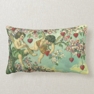 Vintage Victorian Valentines Day Cupids Heart Tree Lumbar Pillow