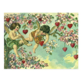 Vintage Victorian Valentines Day Cupids Heart Tree Postcard