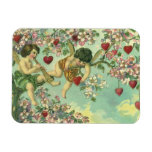 Vintage Victorian Valentines Day Cupids Heart Tree Rectangular Photo Magnet