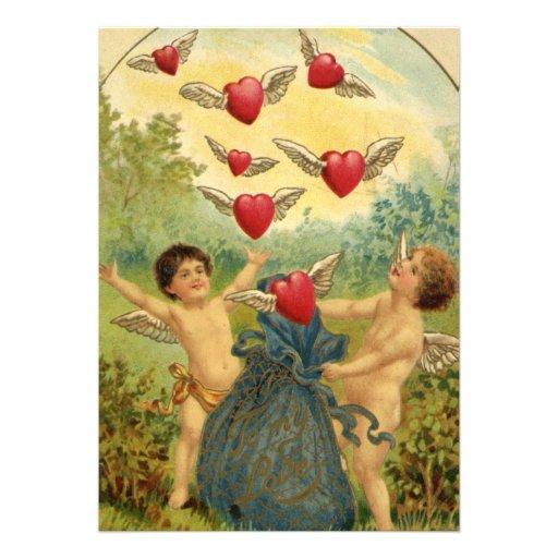 Vintage Victorian Valentine's Day Cupids Hearts Invitations