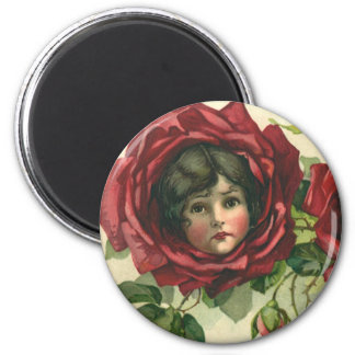 Vintage Victorian Valentine's Day, Faces in Roses 2 Inch Round Magnet