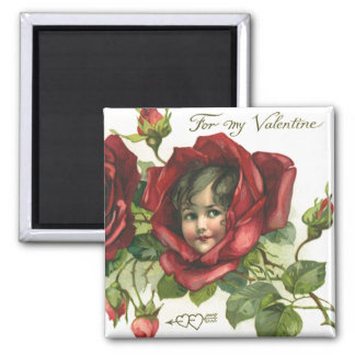 Vintage Victorian Valentine's Day, Faces in Roses 2 Inch Square Magnet