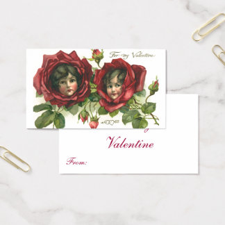 Vintage Victorian Valentine's Day, Faces in Roses Business Card