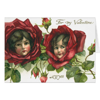 Vintage Victorian Valentine's Day, Faces in Roses Card