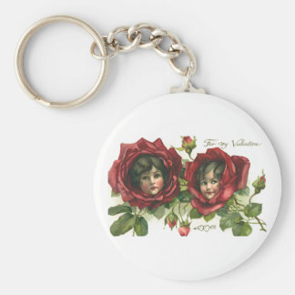Vintage Victorian Valentine's Day, Faces in Roses Keychain