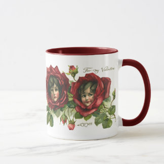 Vintage Victorian Valentine's Day, Faces in Roses Mug