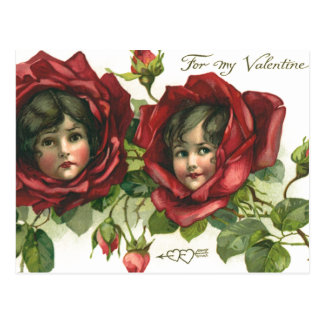Vintage Victorian Valentine's Day, Faces in Roses Postcard