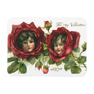 Vintage Victorian Valentine's Day, Faces in Roses Rectangular Photo Magnet