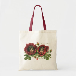 Vintage Victorian Valentine's Day, Faces in Roses Tote Bag