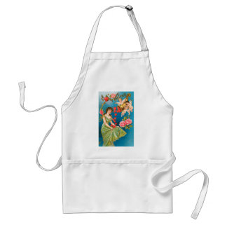 Vintage Victorian Valentine's Day, Girl and Angels Adult Apron