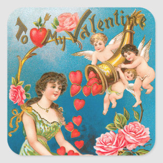 Vintage Victorian Valentine's Day, Girl and Angels Square Sticker
