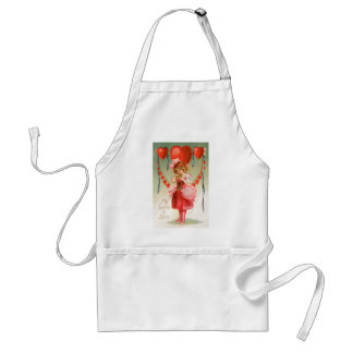 Vintage Victorian Valentines Day, Girl with Hearts Adult Apron