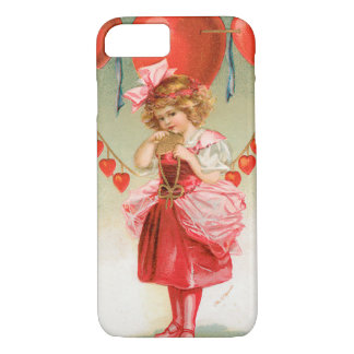 Vintage Victorian Valentines Day, Girl with Hearts iPhone 7 Case
