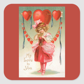 Vintage Victorian Valentines Day, Girl with Hearts Square Sticker