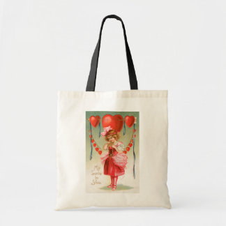 Vintage Victorian Valentines Day, Girl with Hearts Tote Bag