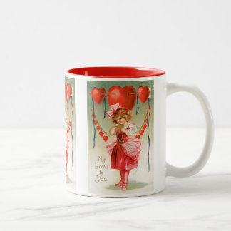 Vintage Victorian Valentines Day, Girl with Hearts Two-Tone Coffee Mug