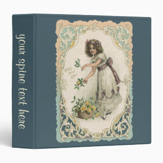Vintage Victorian Valentine's Day, Girl with Roses 3 Ring Binder