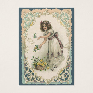 Vintage Victorian Valentine's Day, Girl with Roses Business Card