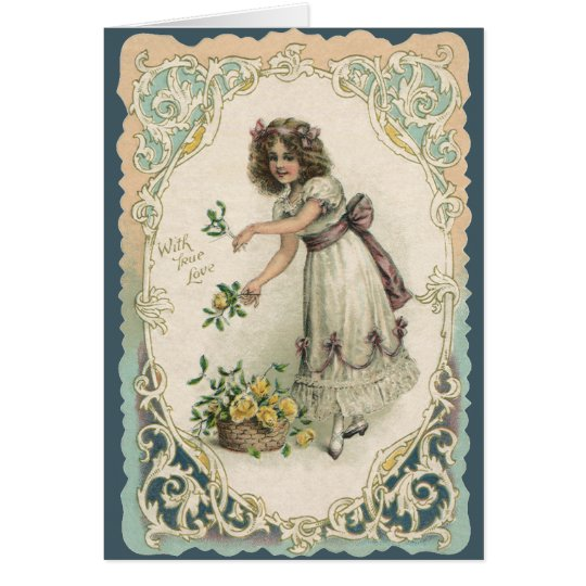 Vintage Victorian Valentine's Day, Girl with Roses Card