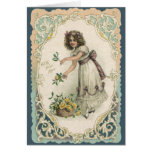 Vintage Victorian Valentine's Day, Girl with Roses Greeting Card