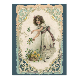 Vintage Victorian Valentine's Day, Girl with Roses Postcard