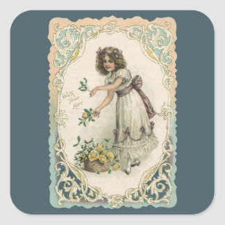 Vintage Victorian Valentine's Day, Girl with Roses Square Sticker