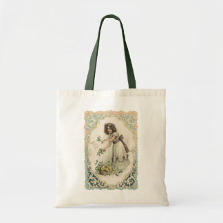 Vintage Victorian Valentine's Day, Girl with Roses Tote Bag