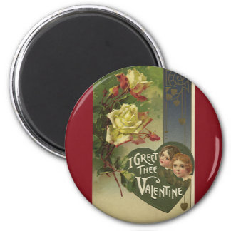 Vintage Victorian Valentine's Day, Girls and Roses 2 Inch Round Magnet