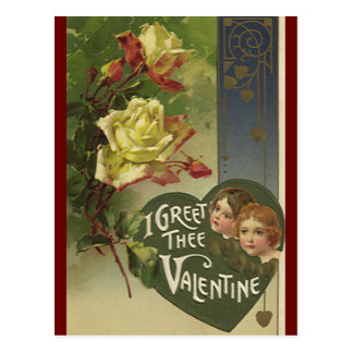 Vintage Victorian Valentine's Day, Girls and Roses Postcard