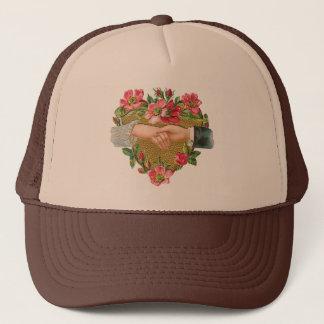 Vintage Victorian Valentine's Day, Hands w Flowers Trucker Hat
