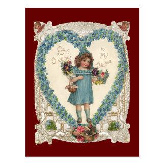 Vintage Victorian Valentine's Day, Heart Wreath Postcard
