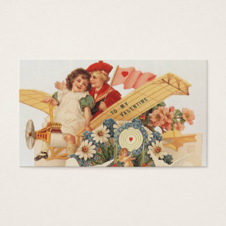 Vintage Victorian Valentines Day, Kids in Airplane Business Card