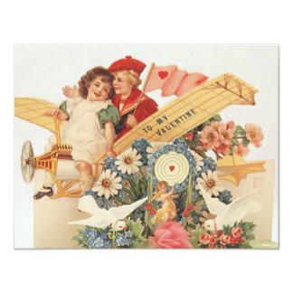 Vintage Victorian Valentines Day, Kids in Airplane Card