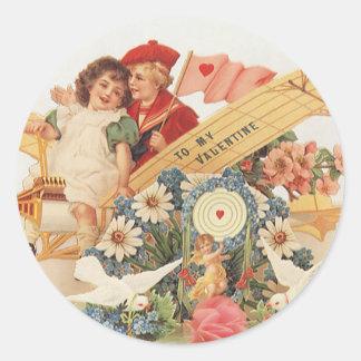 Vintage Victorian Valentines Day, Kids in Airplane Classic Round Sticker