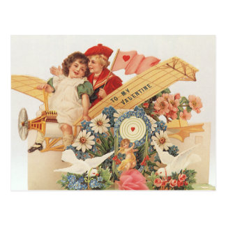 Vintage Victorian Valentines Day, Kids in Airplane Postcard