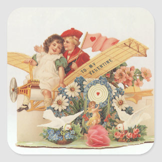 Vintage Victorian Valentines Day, Kids in Airplane Square Sticker