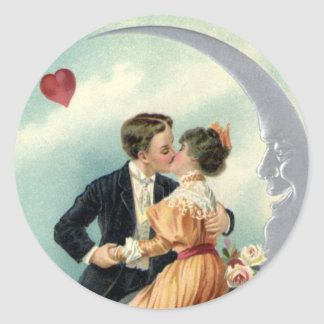 Vintage Victorian Valentine's Day Kiss on the Moon Classic Round Sticker