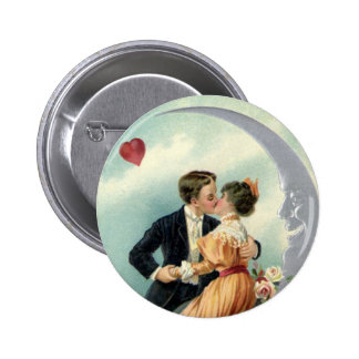 Vintage Victorian Valentine's Day Kiss on the Moon Pinback Button