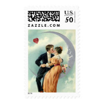 Vintage Victorian Valentine's Day Kiss on the Moon Postage