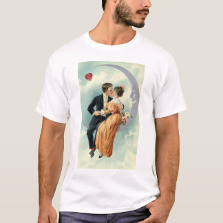 Vintage Victorian Valentine's Day Kiss on the Moon T-Shirt