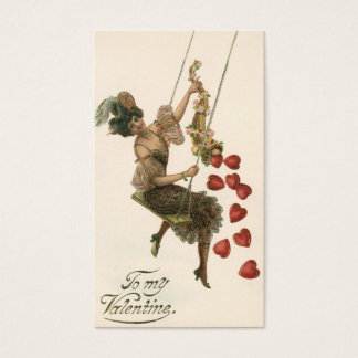 Vintage Victorian Valentine's Day, Lady and Hearts Business Card