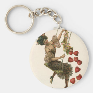 Vintage Victorian Valentine's Day, Lady and Hearts Keychain