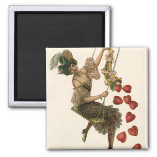 Vintage Victorian Valentine's Day, Lady and Hearts Magnet