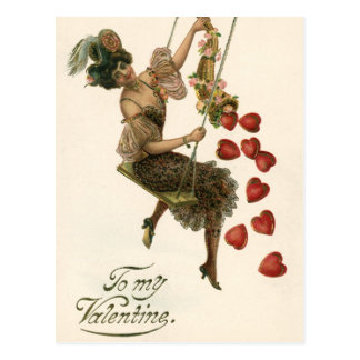Vintage Victorian Valentine's Day, Lady and Hearts Postcard
