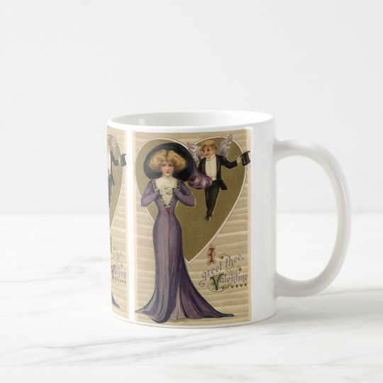 Vintage Victorian Valentine's Day, Lady in Purple Coffee Mug