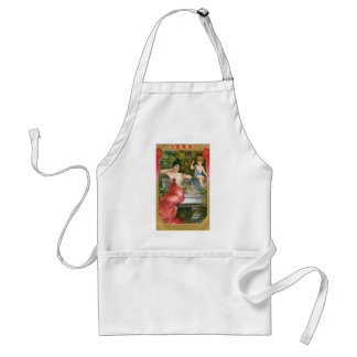 Vintage Victorian Valentines Day, Lady with Cherub Adult Apron
