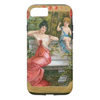 Vintage Victorian Valentines Day, Lady with Cherub iPhone 7 Case