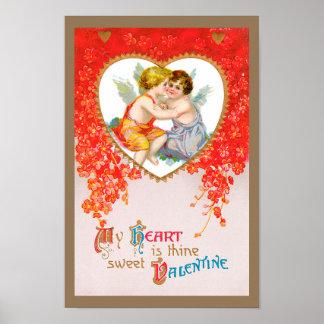 Vintage Victorian Valentine's Day Love Cherubs Poster